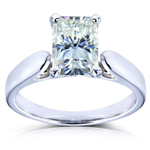 Radiant-cut Moissanite Solitaire Engagement Ring 1 1/5 CTW 14k White Gold