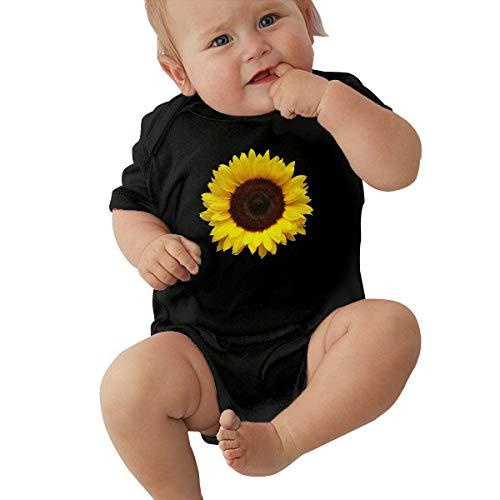 LBJQ9 Sunflower Clipart Newborn Toddler Baby Essential Basic Short Sleeve Bodysuit Jumpsuit Outfits Black