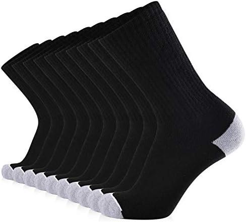 JOURNOW 10 Pairs Men's Cotton Extra Heavy Cushion Crew Socks