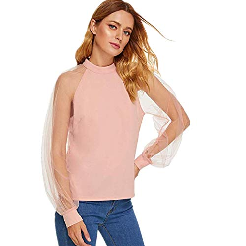 Fashion Women's Full Mesh Sleeves Round Neck Tops AmyDong Summer Casual Gauze Solid Camisole Shirts Blouse Pink