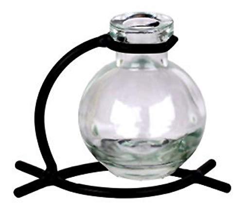 Vintage Glass Ball Clear Vase With Black Metal Stand 1/pc ~ G80 Floral vase ~ Bud Vase ~ Flower Vase ~ Decorative Vase ~ Incense Holder