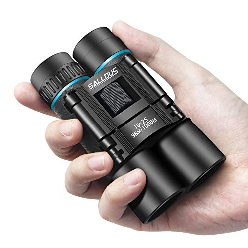 10x25 Small Binoculars, Compact High Powered Binoculars for Kids & Adults, Folding Lightweight Binoculars for Bird Watching Traveling Concerts Shows, Waterproof Opera Glasses (Roof Prism)