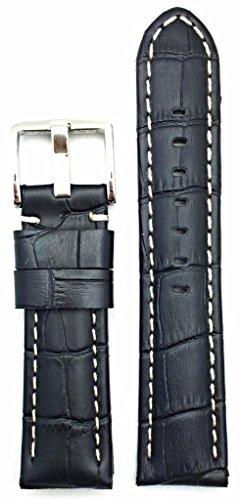 22mm, Panerai Style, Medium Padded, Black Alli Croco Grained Leather, White Stitches Watch Band