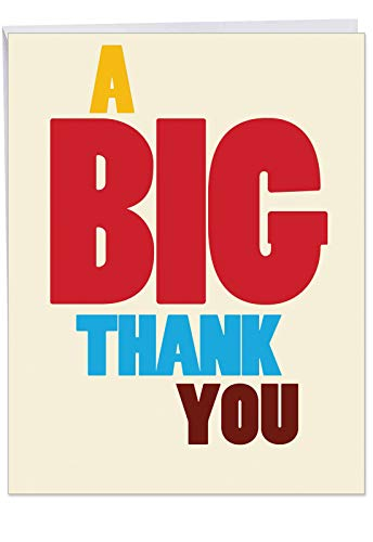 (BIG Thank You Card with Envelope (Large 8.5 x 11 Inch) - Fun and Colorful Thankful Stationery Notecard - Funny Appreciation Card to Say Thanks for Birthday Party, Baby Shower,)