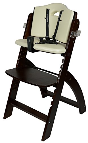 Abiie Beyond Wooden High Chair With Tray. The Perfect Adjustable Baby Highchair Solution For Your Babies and Toddlers or as a Dining Chair. (6 Months up to 250 Lb) (Mahogany Wood - Cream Cushion) by Abiie (Image #5)