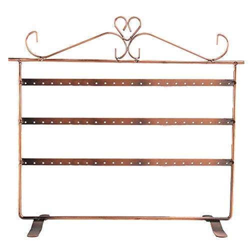 (Yamalans 3-Tier 72 Holes Jewelry Stand Rack Ear Stud Earrings Display Organizer Holder Antique Brass One Size)
