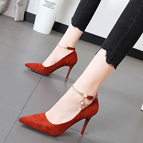 Fashion Shallow Thin Shoes Heel Temperament Drill Heels Pointed Thirty Buckle Word 9Cm five LBTSQ Single Mouth One High Metal aP7wWgp