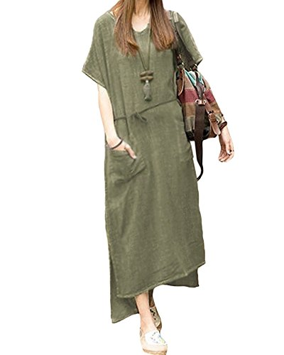 Romacci Women Loose Casual Long Maxi Dress Cotton Linen Solid Color Short Sleeve with Pockets(4 Colors,S-5XL)