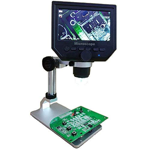 G600 Lcd - Digital Microscope Mustool G600 Digital 1-600X 3.6MP 4.3inch HD LCD Display Continuous Magnifier with Aluminum Alloy Stand Upgrade Version