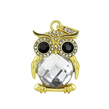 32GB Jewelry Crystal Animal Owl Shape Character USB2.0 Flash Drive Novelty Cute Pendant Thumb Drives Memory Stick Pen Drive Disk with Keychain Design Silver