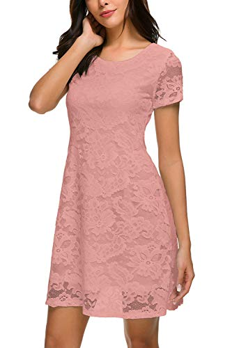 Women's Cute Short Sleeve Lace Dress Floral Lace A-Line Mini Dress Pink L