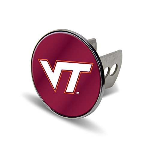 (Rico NCAA Virginia Tech Hokies Laser Cut Metal Hitch Cover, Large, Silver)