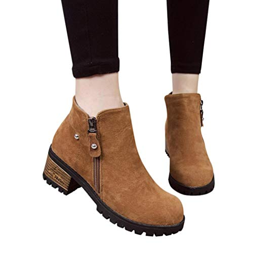 Rivets Women Ankle Boots Boots High FALAIDUO Heeled Boot Brown Martain Winter Zipper Suede Autumn Shoes twqYEBq