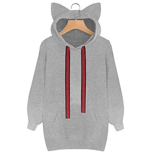 Sweatshirt Mens Hoodie,Women's Accessories,Womens Cat Long Sleeve Hoodie Sweatshirt Hooded Pullover Tops Blouse GY/XXL,Gray,XXL