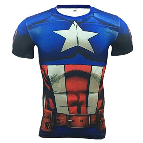 Fashion Captain America Compression Workouts Gear Graphic Shirt Blue L -