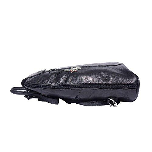 DrachenLeder - Bolso mochila  de Piel para mujer negro negro