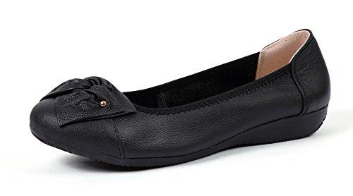 VenusCelia Women's Bows Dance Flat Shoe (6.5 M US,Black)
