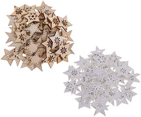 sharprepublic 約100個入り 木材チープ スノーフレーク 星型 スクラップブッキング 飾り 子供おもちゃ 多用途