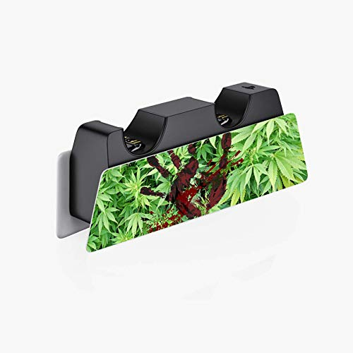 PlayVital Blood Handprint Weeds Full Set Skin Decal for PS5 Console Digital Edition, PS5 Sticker Vinyl Decal Cover for Playstation 5 & DualSense Controller & Charging Station & Headset & Media Remote