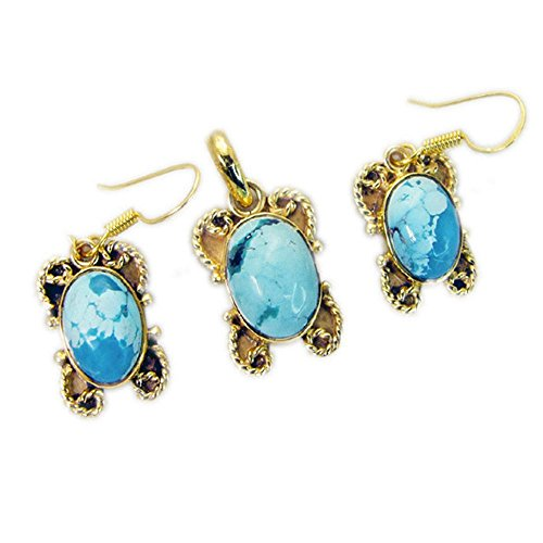 Yellow Gold Plated Pendant Sets Genuine Turquoise Gemstone Jewelry For women Astrological Chakra ()