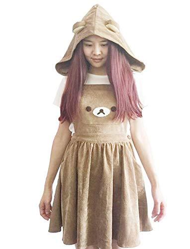 - Rilakkuma Dress Cute Bear Embroidery Overall Dresses with Detachable Hat Lolita Mori Girls Straps Dress