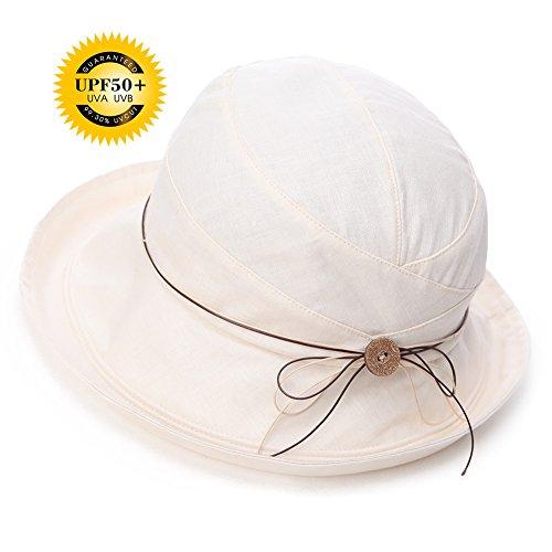 Siggi Womens UPF 50+ Cotton Linen Packable Bucket Sun Hats Wide Brim Sunhat with Chin Cord Summer Beige