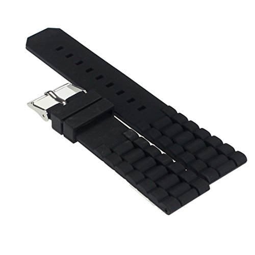 Black Rubber Belt Watch (Alonea® Mens Black Silicone Rubber Diver Watch Band Strap For Fossil Nate 22mm)