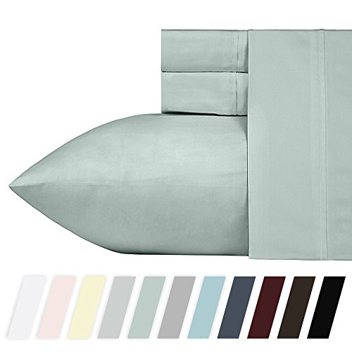 Egyptian Cotton Bed (California Design Den 400 Thread Count 100% Cotton Sheet Set, Mod Spa California King Sheets 4 Piece Set, Long-staple Combed Pure Natural Cotton Bedsheets, Soft & Silky Sateen Weave by)