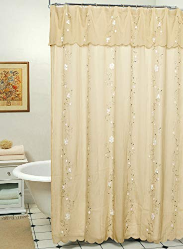 Creative Linens Daisy Embroidered Floral Fabric Shower Curtain with attached Valance Taupe Tan