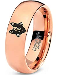 Hunter Fenrir Viking Nordic Celtic Tribal Wolf Ring - Tungsten Band 8mm - Men - Women - 18k Rose Gold Step Bevel Edge - Yellow - Grey - Blue - Black - Brushed - Polished - Wedding - Gift Dome Flat Cut