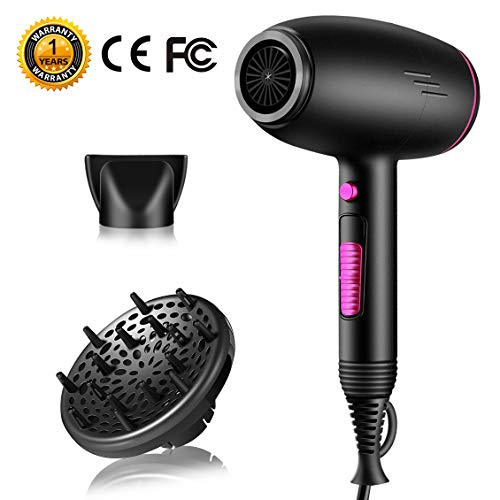 Hair Dryers,SOMOYA 2300W Negative Ion Blow Dryer with Diffuser Salon Fast Dry Travel Hair Dryers Professional Blowdryer with 2 Speed and 3 Heat Settings and Cold Shot Button (110V, AC Black) (Best Compact Dryers 2019)
