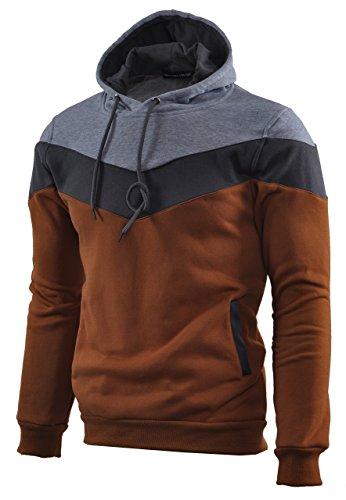 (Mooncolour Mens Novelty Color Block Hoodies Cozy Sport Autumn Outwear, Brown, US)