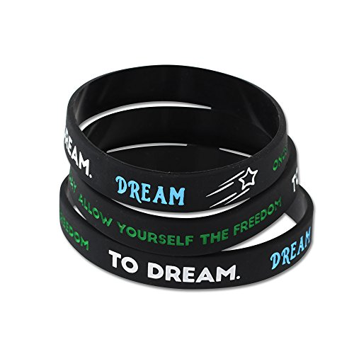 WIZARDPINS Inspirational Silicone Wristbands - (DREAM - 10 Bracelets)