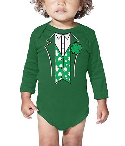 Leprechaun Suit - Four Leaf Clover Long Sleeve Bodysuit (Kelly, 12 -