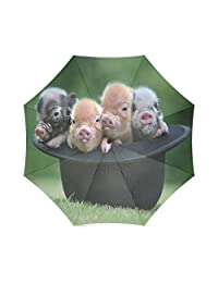 Best Friends/Sisters/Brothers Gifts Cute Piglets In A Hat 100% Fabric And Aluminium Foldable High-quality Umbrella