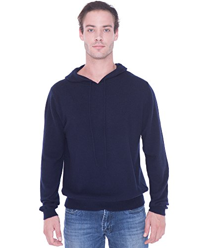 - cashmere 4 U 100% Pure Cashmere Drawstring Hoodie Sweater for Men (X-Large, Dark Navy)