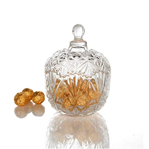Crystal Candy Jar with Lid – Glass Jar for Food Storage and Organization – 8 ounce Crystal Dish