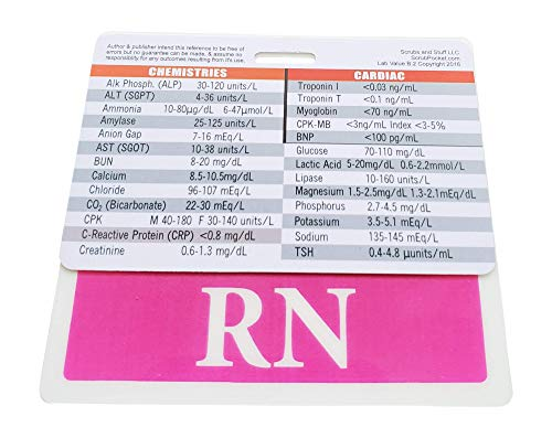 (RN Badge Buddy Pink Horizontal with Lab Values Badge Card for Nurses. Set/Bundle 2)