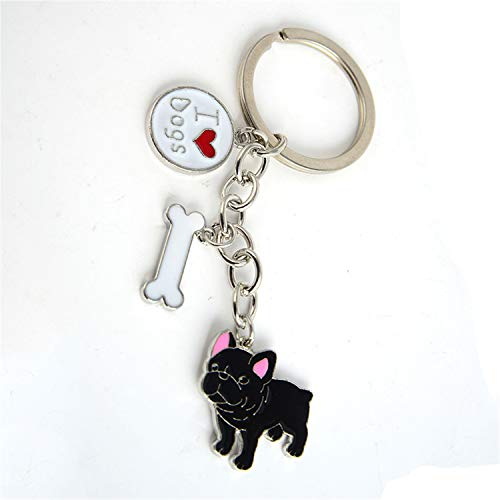 Shih Tzu Pendant Key Chains for Women Girls Men Silver Color Metal Alloy Pet Dog Bag Charm Car Keychain Key Ring Holder Fashion French (Bulldog Keychain Holder)