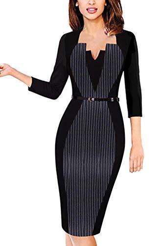 MisShow Women's Cocktail Party Dresses Knee Length Business Office Bodycon Dress Striped XL - Juniors Colorblock Dress