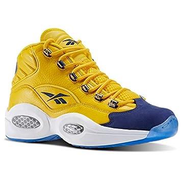 nieuwe uitstraling nieuwe release outlet winkel Amazon.com: Reebok Question Mid (Sport Yellow/Collegiate N ...