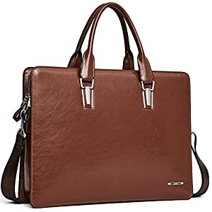 Cluci Leather Briefcases for Women 14 Inch Laptop Vintage Slim Business Men Shoulder Bag Brown