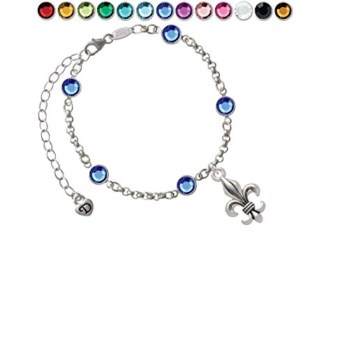 Fleur Large Lis De Crystal (Large Antiqued Fleur di Lis Custom Crystal Color Fiona Charm Bracelet)