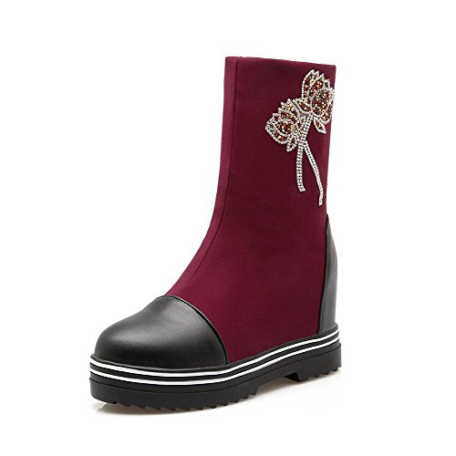 Odomolor Damen Hoher Absatz Ziehen auf Mitte-Spitze Blend-Materialien Stiefel, Rot, 39