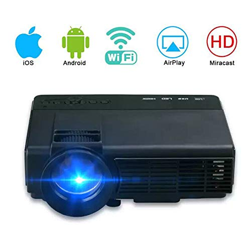 Video Projector, 1080P HD Home Entertainment Portable LED Projector, Support WiFi, Suitable for Children's Gifts, Video TV Movies, Party Games,Black