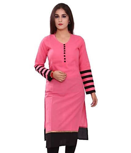 e1d72c688f18 Sargam Fashion Plain Pink Georgette Straight Fit Casual Wear Women's Kurti.  -...: Amazon.in: Clothing & Accessories