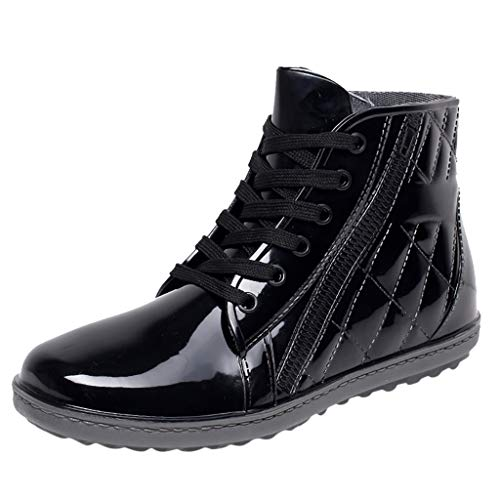 Fheaven Men's Stylish Mid Top Boots Lace-Up Rain Boots Casual Water Boots (8, Black)