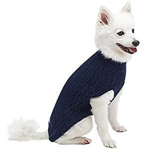 """Blueberry Pet 13 Colors Classic Wool Blend Cable Knit Pullover Dog Sweater in Dress Blue, Back Length 12"""", Pack of 1 Clothes for Dogs"""
