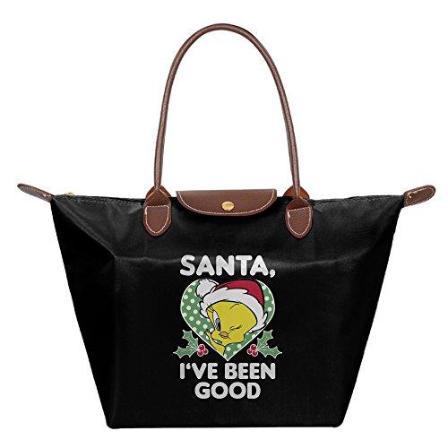 Christmas Tweety Bird Santa Stylish Women's Shoulder Bags Casual Handbag Canvas Bags Tote (Tweety Handbag)