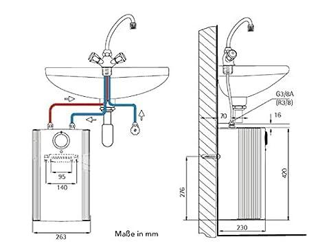 AEG 222167 Huz 5 ÖKO Drop Stop - Calentador acumulador de sistema abierto (tamaño pequeño, 5 litros, 2 kW, 230 V), color blanco: Amazon.es: Bricolaje y ...